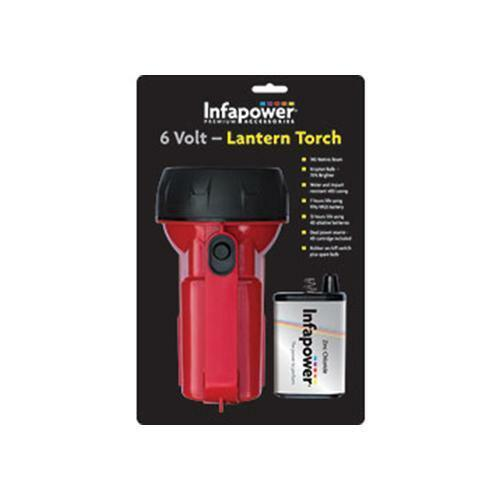Infapower F014 6 Volt Water Impact Resistant Lantern Torch Battery Powered - Red