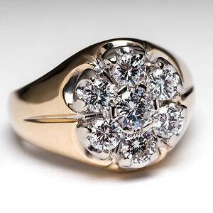 mens vintage genuine cluster ring solid 14k gold