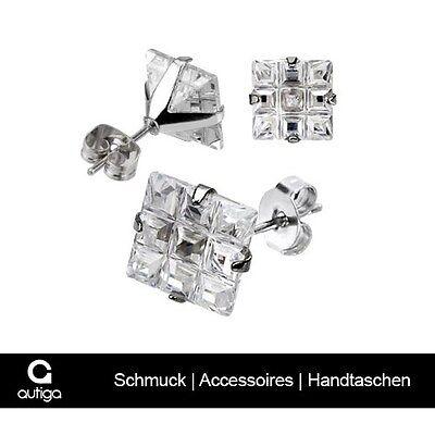Ohrstecker Zirkonia Damen Herren Ohrringe Kristall Edelstahl 9 Quadrate (Herren Ohrringe Ohrstecker Kristall)