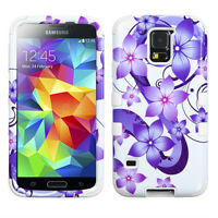 Galaxy S5 TUFF Hybrid Protector Case - Purple Hibiscus Flower