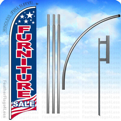 Furniture Sale - Windless Swooper Flag Kit 15 Feather Banner Sign - Usa Bb