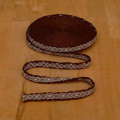 Mittelalter LARP Reenactment Handgewebte Brettchenborte Wolle braun-natur
