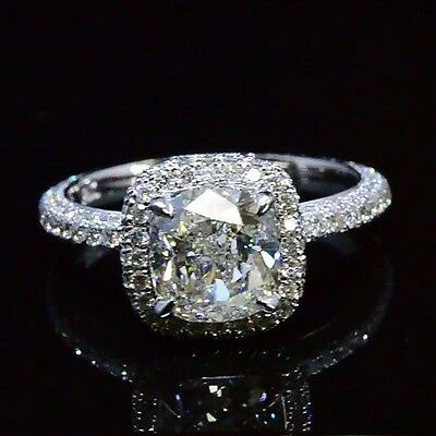 2.08 Ct Cushion Cut Diamond Halo Micro Pave Engagement Ring H,VVS1 14K GIA
