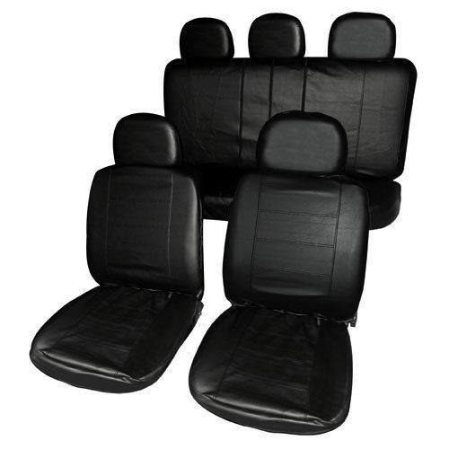 UNIVERSAL BLACK HEAVY DUTY LEATHER LOOK CAR SEAT COVERS