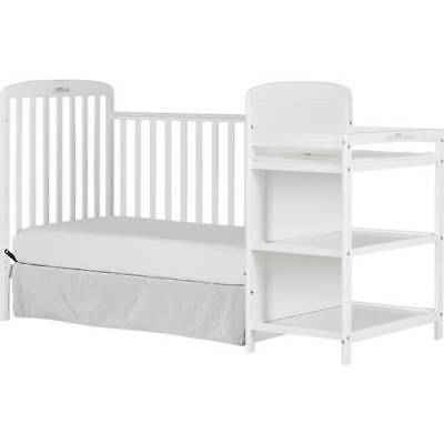 Dream On Me Anna 4 in 1 Full Size Crib N Changing Table Combo White Convertible