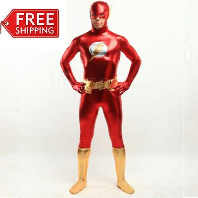The Flash costume halloween men's Superhero cosplay bodysuit Zentai custom Made](Cheap Costumes For Men)