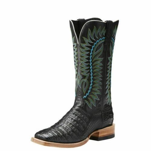 """Ariat, 10021649, Relentless, Gold, Buckle, 13"""", Caiman, Gator, Square, Toe, Cowboy, Boots, 9"""