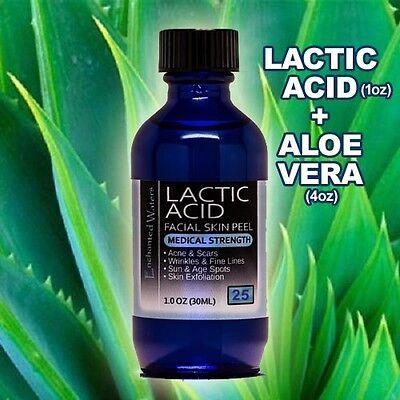 Lactic Acid Skin Peel 25% and 100% PURE ORGANIC ALOE VERA GEL Moisturizer Combo for sale  Shipping to India