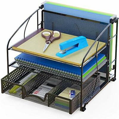 Simplehouseware Desk Organizer 3 Tray W Sliding Drawer And Hanging File Holder