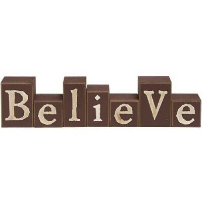 New Primitive Rustic Country Red BURGUNDY BELIEVE WOOD BLOCKS Word Sign -