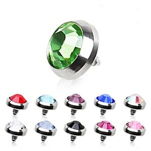 New-Surgical-Steel-Dermal-Anchor-Head-Top-with-Gem-4mm-Various-Colours-14g