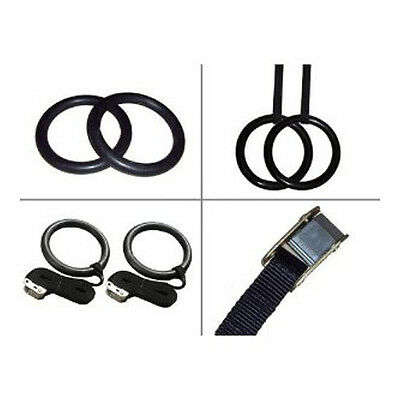 Gymnastic Olympic Crossfit Gym Rings Pull Up Strength Training Adjustable Pair!