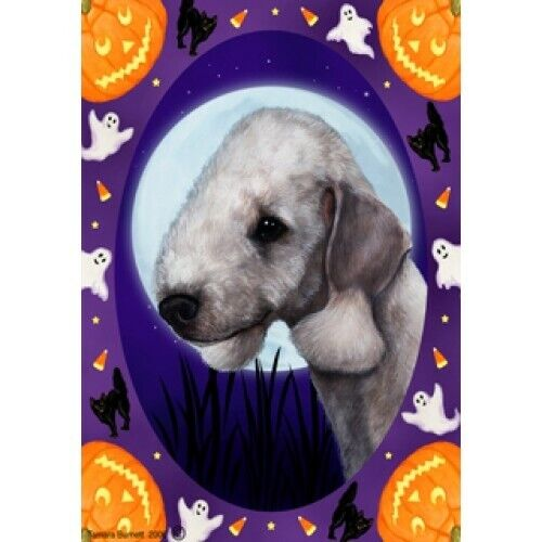 Halloween Garden Flag - Bedlington Terrier 121321