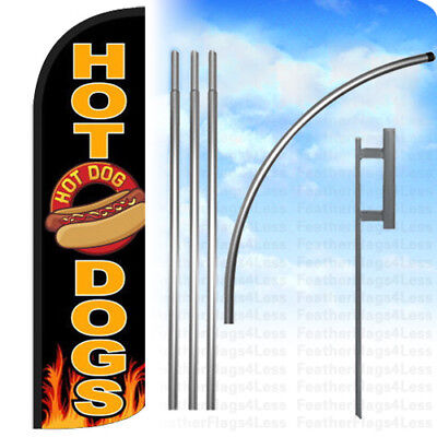 Hot Dogs Windless Swooper Feather Flag 15 Kit Banner Sign - Black Kq