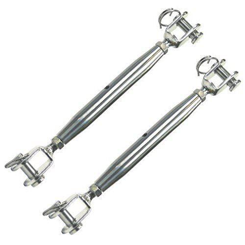 2 x Heavy Duty Marine Grade 316Stainless Steel Jaw/Jaw Closed Body Turnbuckle M5