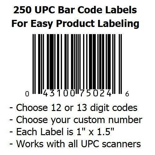 250 UPC Bar Code Label Stickers - Same Code on Each Sticker