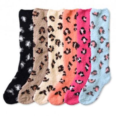 Leopard Knee High Socks - 4~12 pairs Women Winter Socks Cozy Fuzzy LEOPARD Slipper Long Fleece Knee High