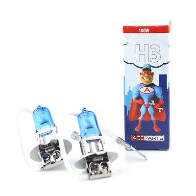H3 100w Super White Xenon HID Upgrade Low Dip Beam Headlight Bulbs Pair