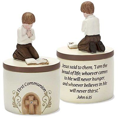 - First Communion Praying Boy John 6:35 Resin Stone 5 inch Keepsake Box