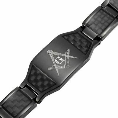 MasonicMan Mens Black Titanium Magnetic Masonic Bracelet Carbon Fiber Adjuster (Carbon Fiber Mens Bracelets)