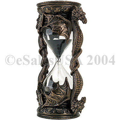 Dragon Hourglass Black Sand Timer Medieval Glass Collectible Time Guardian Magic