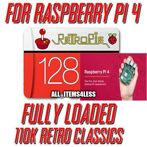 110,000 Video Games Raspberry Pi 4 128GB FULLY LOADED Micro SD Card Retropie ????