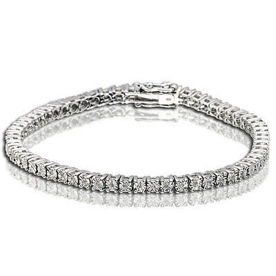 1 Row Women's 1/4 ct Tennis Bracelet with genuine diamonds in white gold finish for sale  Shipping to South Africa