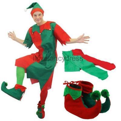 HERREN ELFE KOSTÜM WEIHNACHTEN VERKLEIDUNG WICHTEL WEIHNACHTSPARTY (Herren Elfen Kostüm)