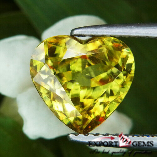 UNHEATED 2.51 CT NATURAL YELLOW HEART SPHENE