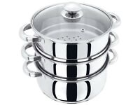 22CM 3 TIER STEAMER STAINLESS STEEL MULTI VEG COOKER POT PAN COOKWARE LID SET brand new in box