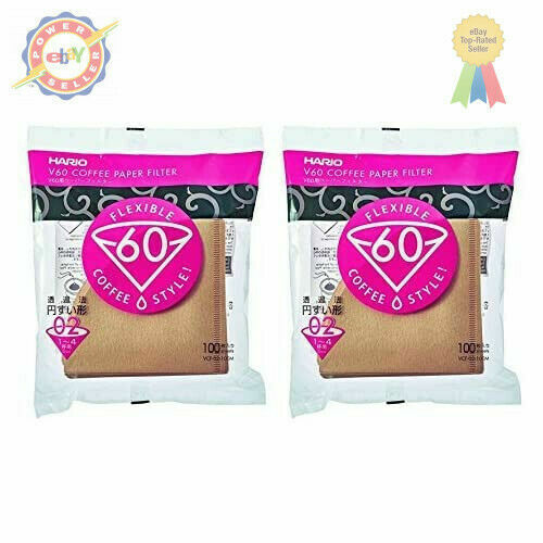 Hario 02 100-Count Coffee Natural Paper Filters, 2-Pack