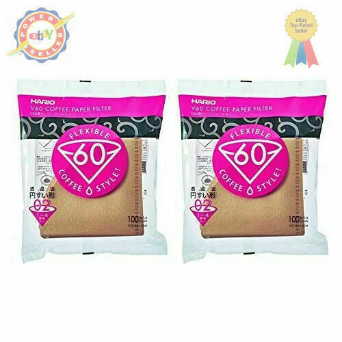 Hario 02 100-Count Coffee Natural Paper Filters, 2-Pack Value Set
