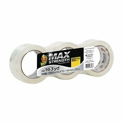 Duck MAX Strength Packing Tape Refill, 3 Rolls, 1.88 Inch x 54.6 Yard, Clear (24