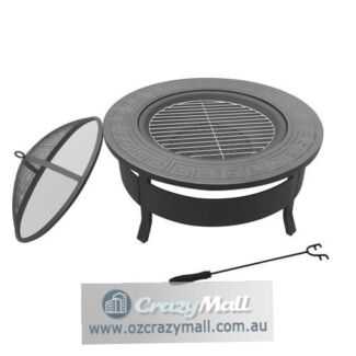 Outdoor Round Robust Steel Fire Pit BBQ Grill