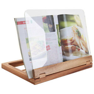 Natural Living Acacia Wood Cookbook Holder