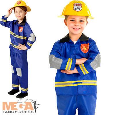 Fireman Costume For Girls (Fire Fighter + Hat Kids Fancy Dress Fireman Uniform Boys Girls Childrens)