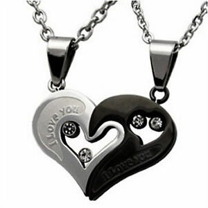 Men Women Couple Lover Necklace I Love You Heart Pendant Free Two Chain Gift
