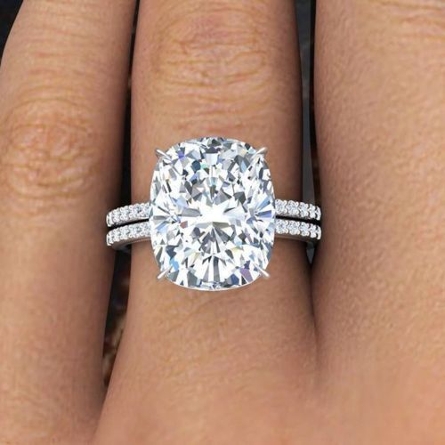 3.00 Ct Cushion Cut Diamond Engagement Ring Set Round Accents H,VS1 GIA 14K WG  7
