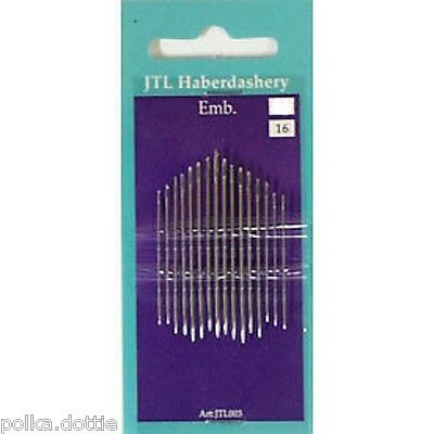 Embroidery Hand Needles Large Eye For Easy Threading Size 3/9 Pack of 16