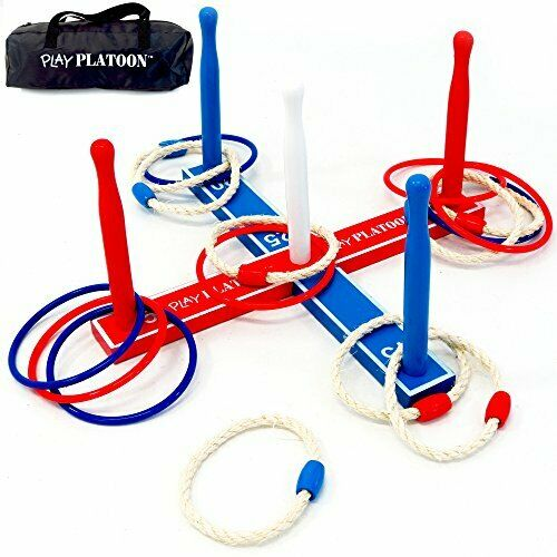Premium Ring Toss Game Set for Kids & Adults - Includes 8 Rope & 8 Plastic Rings