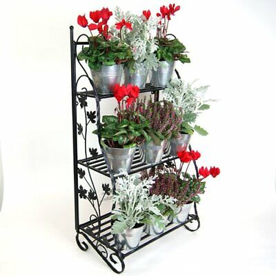 Tiered Flower Stage Classic Metal Plant Display Stand Black Plant Theatre
