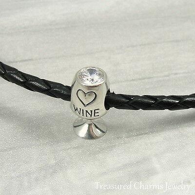 - 925 Sterling Silver White Wine Glass Charm - Large Hole Bead European Bracelet
