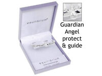 Guardian angel protect and guide silver plated bracelet bangle