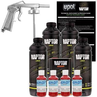 U-POL Raptor Hot Rod Red Urethane Spray-On Truck Bed Liner W/Free Spray Gun, 4 L