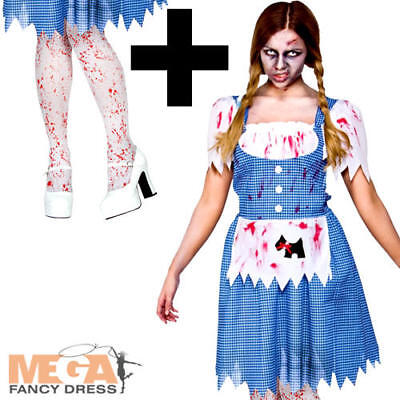 Zombie Dorothy + Tights Ladies Fancy Dress Fairy Tale Horror Halloween Costume  ()