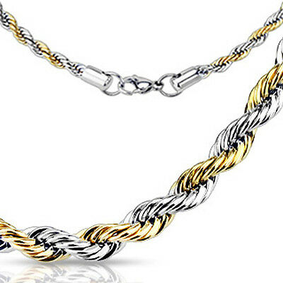 Rope Chain 3 mm 4 mm 5 mm Link Two Tone 14 kt IP Stainless Steel Duo-sex  22