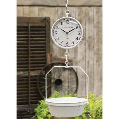 WHITE VINTAGE HANGING SCALE With CLOCK Country Farmhouse Rustic Kitchen