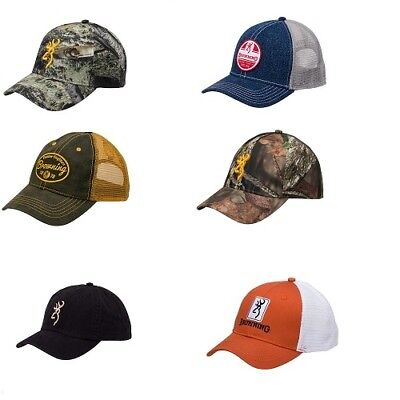 Browning Solid & Hunting Camo Style Adjustable Fit Baseball Style Ball Cap Hats
