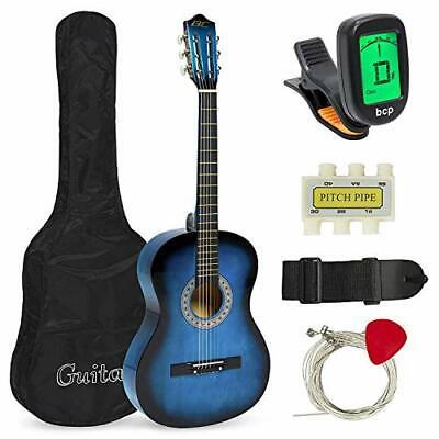 38in Beginner Acoustic Guitar Starter Kit w/ Case Strap Digital E-Tuner Pick