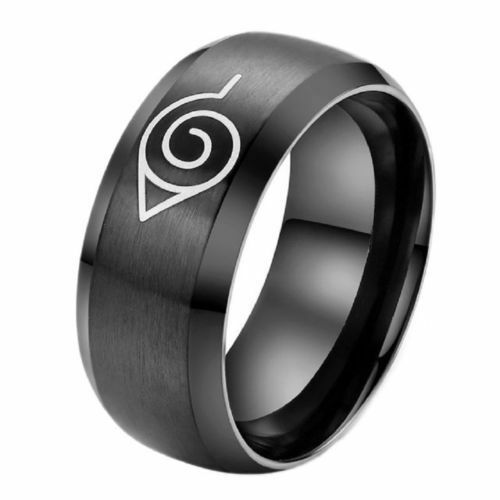 8mm Stainless Steel Naruto Cosplay Men Women Black Ring Band Size 6-13